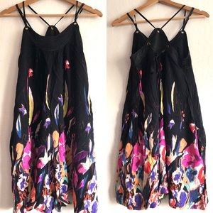 French Connection strappy black romper colored hem
